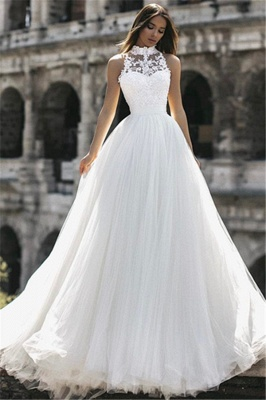 Glamorous  Floor-Length High-Neck Sleeveless Appliques  A-Line Wedding Dresses_4
