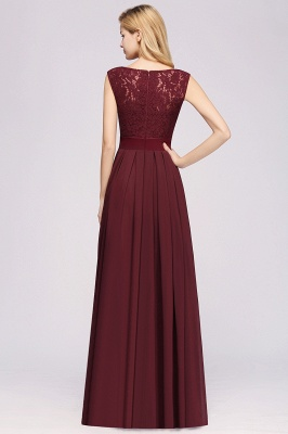 Simple A-Line Chiffon Bridesmaid Dresses | Scoop Sleeveless Lace Appliques Maid of the Honor Dresses_2