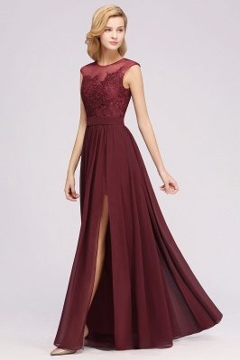 A-line  Lace Jewel Sleeveless Floor-Length Bridesmaid Dresses with Appliques_5