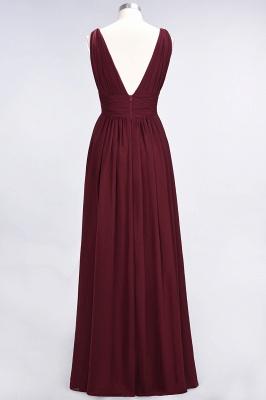 A-Line V-Neck Sleeveless Floor-Length  Bridesmaid Dress with Ruffle_3
