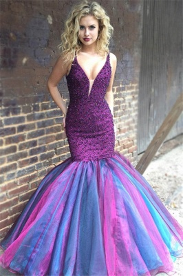 Glamorous Mermaid V-Neck Sleeveless Spaghetti-Straps Rhinestones Floor-Length Prom Dresses