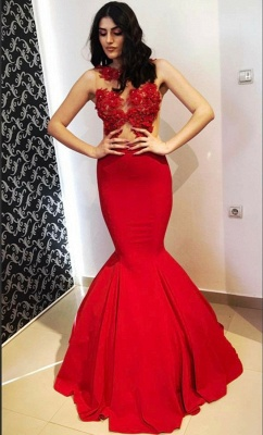 Chic Mermaid Round-Neck Appliques Sleeveless Floor-Length Prom Dresses