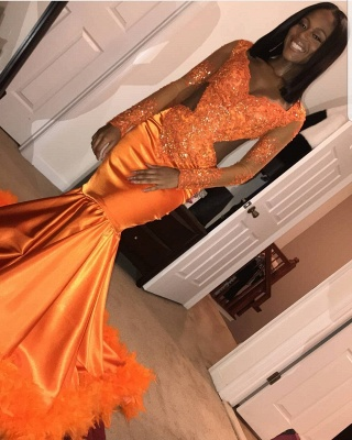 Stunning Mermaid V-Neck Long-Sleeves Appliques  Sequins Floor-Length Prom Dresses_5