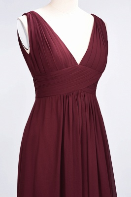 A-Line V-Neck Sleeveless Floor-Length  Bridesmaid Dress with Ruffle_6