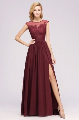 A-line  Lace Jewel Sleeveless Floor-Length Bridesmaid Dresses with Appliques_1