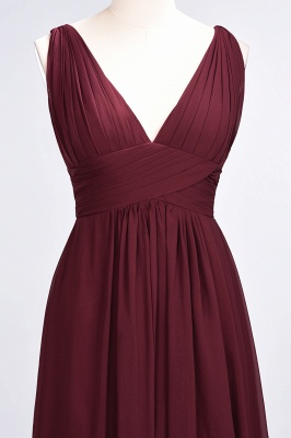 A-Line V-Neck Sleeveless Floor-Length  Bridesmaid Dress with Ruffle_5