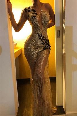 Elegant Sheath One-Shoulder V-Neck Backless Floor-Length Prom Dresses_2