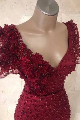 Elegant Mermaid V-Neck Short Sleeves Beading Flower Floor-Length Prom Dresses_3