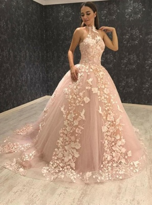 Stunning Ball Gown Halter Sleeveless  Appliques Prom Dresses_3