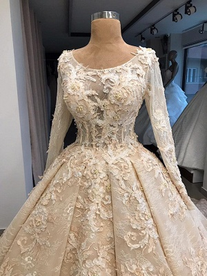 Glamorous Ball Gown Scoop Long-Sleeves Appliques Wedding Dresses_4