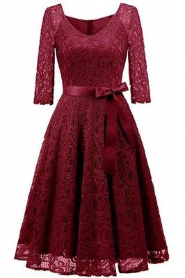 Multi-color A-line Holiday Guipure lace Round Neck Midi Lace Dresses