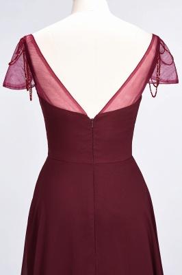 A-Line Sweetheart Cap-Sleeves Ruffle Floor-Length  Bridesmaid Dress with Beadings_7
