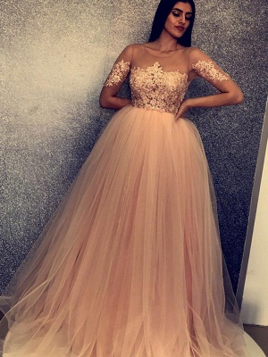 Unique A-Line Scoop Short Sleeves Appliques  Floor-Length Prom Dresses_3