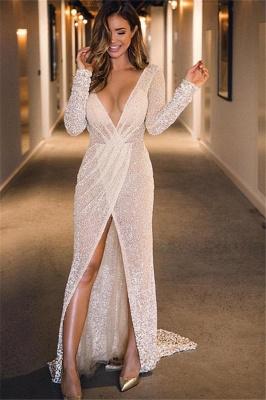 Unique A-Line Deep-V-Neck Long-Sleeves Front-Split Floor-Length Prom Dresses_1