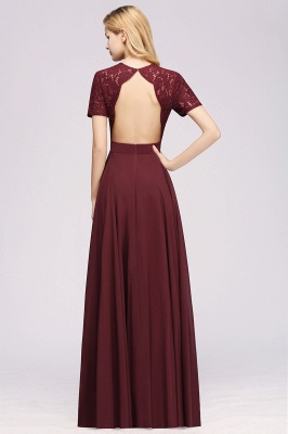 A-Line Chiffon Bridesmaid Dresses | Sweetheart Cap Sleeves Lace Wedding Party Dresses_26