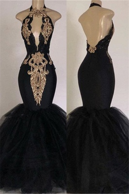 Sexy Backless Prom Dresses Cheap with Gold Appliques | Mermaid Halter Evening Gowns with Keyhole_1