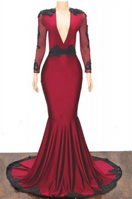 Stylish Mermaid Deep-V-Neck Long-Sleeves Appliques Floor-Length Prom Dresses_1