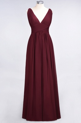 A-Line V-Neck Sleeveless Floor-Length  Bridesmaid Dress with Ruffle_2