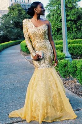 Elegant Mermaid One-Shoulder Long-Sleeves Sweep-Train Prom Dresses_5