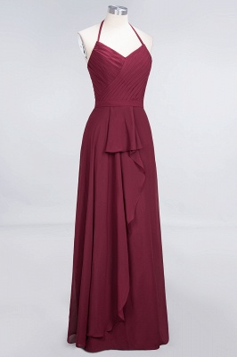 A-Line Halter V-Neck Sleeveless Floor-Length  Bridesmaid Dress with Ruffle_3