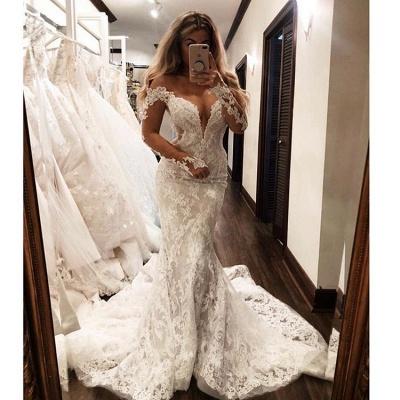 Glamorous Mermaid Off-the-Shoulder Long-Sleeves V-Neck Appliques Wedding Dresses_3