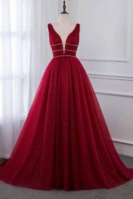 Unique A-Line Deep-V-Neck Sleeveless  Rhinestones Prom Dresses_1
