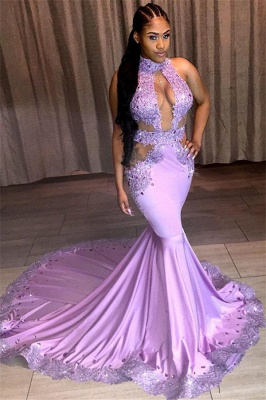 Charming Mermaid Appliques Lace Halter Sleeveless Sequins Prom Dresses_1