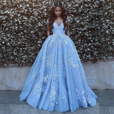 Romantic Ball Gown Prom Dresses Off-the-Shoulder Baby Blue Lace Appliques Evening Gowns_4