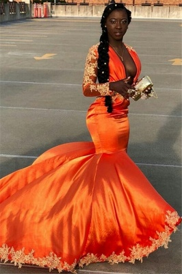 Stunning Mermaid Long-Sleeves Deep-V-Neck Appliques Lace Prom Dresses_1