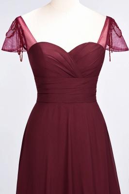 A-Line Sweetheart Cap-Sleeves Ruffle Floor-Length  Bridesmaid Dress with Beadings_5