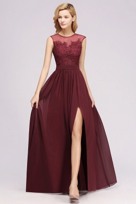 A-line  Lace Jewel Sleeveless Floor-Length Bridesmaid Dresses with Appliques_3