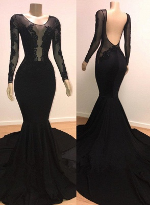 Stylish Mermaid Scoop Long-Sleeves Backless Appliques  Prom Dresses_1