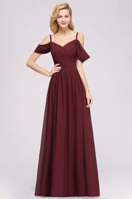 A-Line  V-Neck Spaghetti Straps Short-Sleeves Floor-Length Bridesmaid Dresses with Ruffles_2