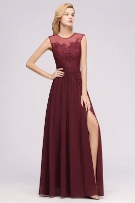 A-line  Lace Jewel Sleeveless Floor-Length Bridesmaid Dresses with Appliques_4