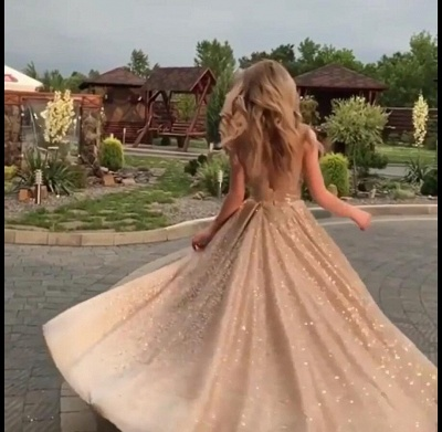 2019 Fashion Sleeveless Sequins A-Line Crew Floor-Length Prom Dresses_3