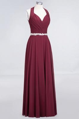 A-Line Halter V-Neck Sleeveless Ruffle Floor-Length  Bridesmaid Dress with Appliques Sashes_3