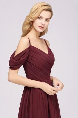 A-Line  V-Neck Spaghetti Straps Short-Sleeves Floor-Length Bridesmaid Dresses with Ruffles_7