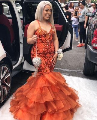 Unique Mermaid Spaghetti-Straps Sleeveless Appliques Rhinestones Prom Dresses_3