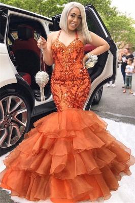 Unique Mermaid Spaghetti-Straps Sleeveless Appliques Rhinestones Prom Dresses_2