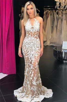 Stylish Mermaid V-Neck Sleeveless Appliques Sweep-Train Prom Dresses_1