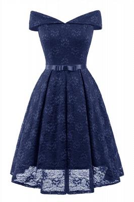 Retro Lace Off-the-shoudler Dress Elegant Cocktail Party Cap Sleeve A Line Vintage Dress_8