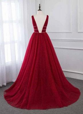 Unique A-Line Deep-V-Neck Sleeveless  Rhinestones Prom Dresses_3
