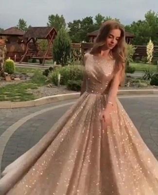 2019 Fashion Sleeveless Sequins A-Line Crew Floor-Length Prom Dresses_4