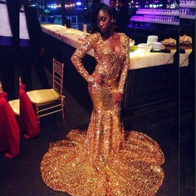 Stunning Mermaid Long-Sleeves Scoop Sweep-Train Prom Dresses_3
