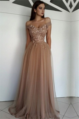 Charming A-Line Appliques Tulle Off-the-Shoulder Beading  Floor-Length Prom Dresses
