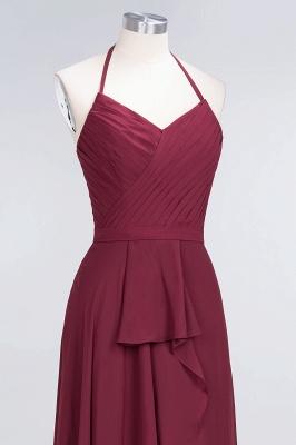 A-Line Halter V-Neck Sleeveless Floor-Length  Bridesmaid Dress with Ruffle_5