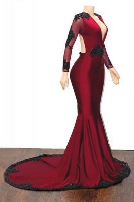 Stylish Mermaid Deep-V-Neck Long-Sleeves Appliques Floor-Length Prom Dresses_6