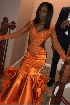 Stunning Mermaid V-Neck Long-Sleeves Appliques  Sequins Floor-Length Prom Dresses_4