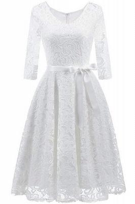 Multi-color A-line Holiday Guipure lace Round Neck Midi Lace Dresses_1