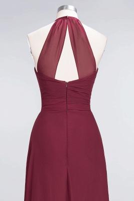 A-Line Halter V-Neck Sleeveless Floor-Length  Bridesmaid Dress with Ruffle_6